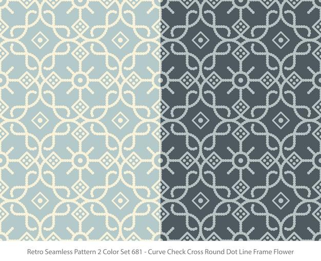 곡선 라운드 도트 프레임 꽃과 완벽 한 패턴의 집합 프리미엄 벡터