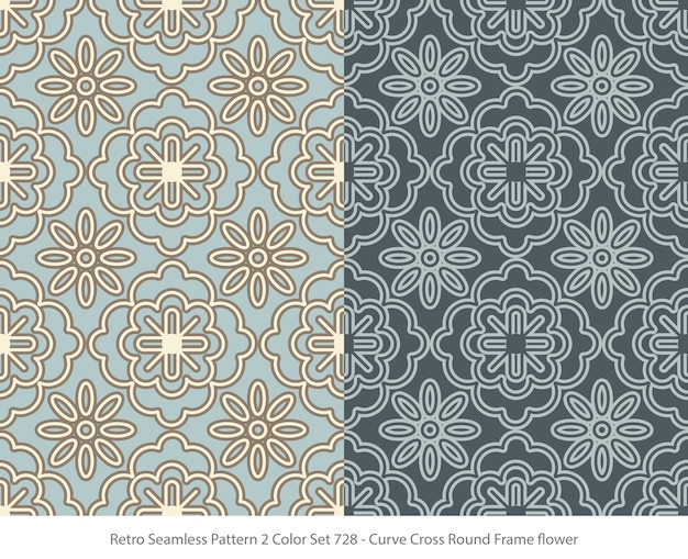 곡선 라운드 프레임 꽃과 완벽 한 패턴의 집합