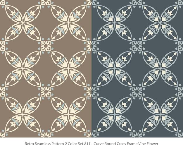 곡선 라운드 프레임 포도 나무 꽃으로 완벽 한 패턴의 집합
