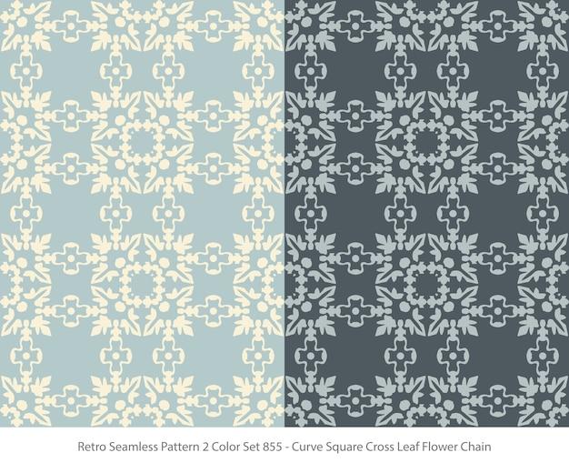 곡선 사각형 잎 꽃 체인으로 완벽 한 패턴의 집합