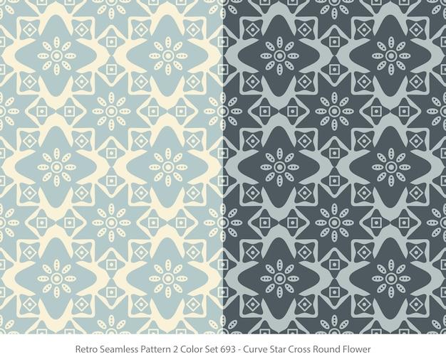 곡선 스타 라운드 꽃과 완벽 한 패턴의 집합
