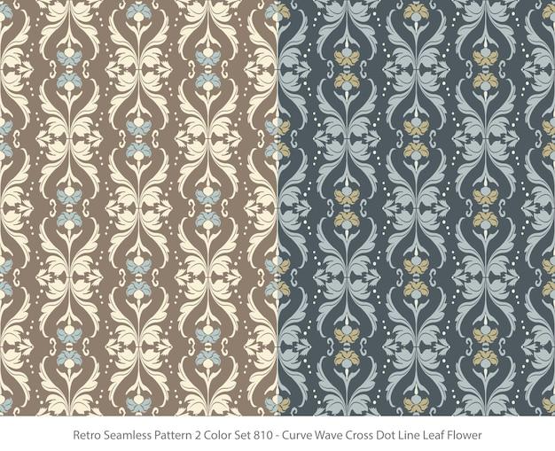 カーブウェーブドットリーフフラワーとシームレスなパターンのセット