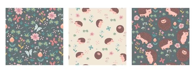 귀여운 고슴도치와 꽃이 있는 매끄러운 패턴의 집합입니다. 벡터 그래픽입니다.
