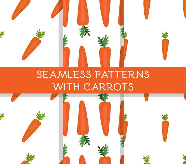 흰색 바탕에 귀여운 간단한 당근이 있는 매끄러운 패턴 세트. 야채, 건강 식품, 다이어트, 수확. 평면 벡터 일러스트 레이 션.