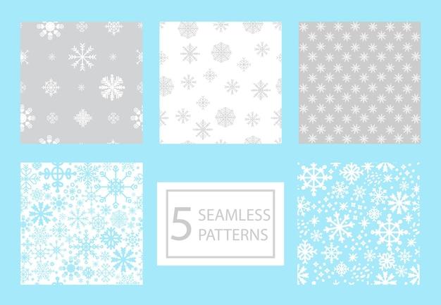 흰색, 회색, 파란색 색상의 다른 크리스마스 눈송이와 원활한 패턴의 집합입니다. 벡터 일러스트 레이 션.