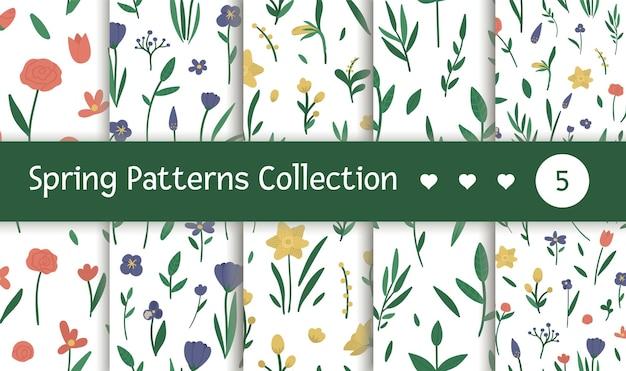 異なる花とシームレスなパターンのセット