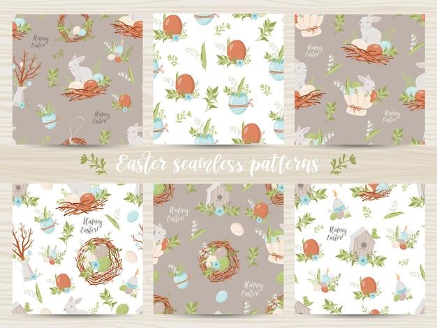 Набор бесшовных паттернов с пасхальными яйцами и кроликами. иллюстрация для оберточной бумаги и скрапбукинга