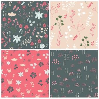 花の要素とシームレスなパターンのセット。ベクトル図。