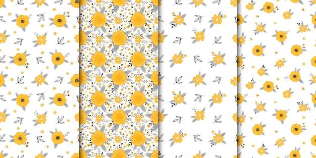 Набор бесшовных паттернов с цветами и листьями на белом фоне Premium векторы