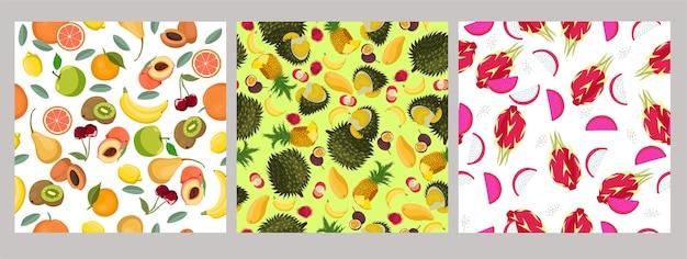 果物とシームレスなパターンのセット
