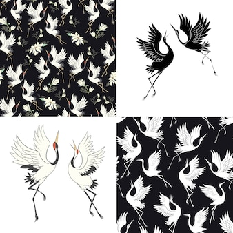 일본 크레인과 완벽 한 패턴의 집합