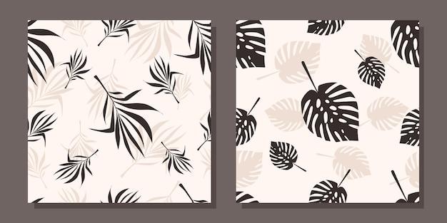 잎이 있는 매끄러운 패턴 세트