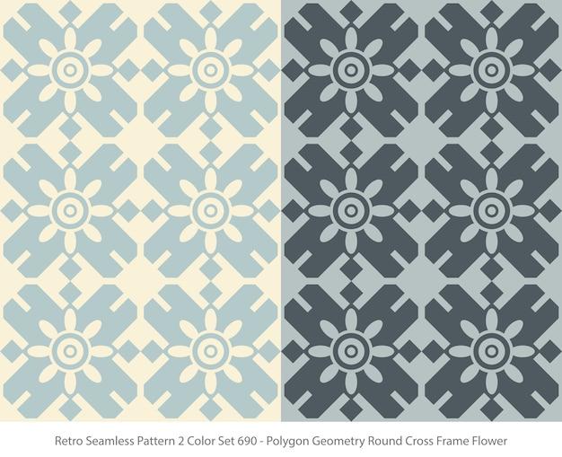 다각형 형상 라운드 프레임 꽃과 완벽 한 패턴의 집합