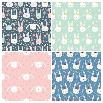 ウサギとのシームレスなパターンのセット