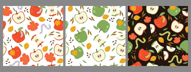 赤と緑のリンゴとワームのシームレスなパターンのセットです。
