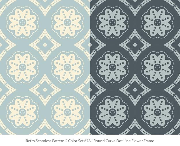 둥근 곡선 도트 꽃 프레임으로 완벽 한 패턴의 집합 프리미엄 벡터