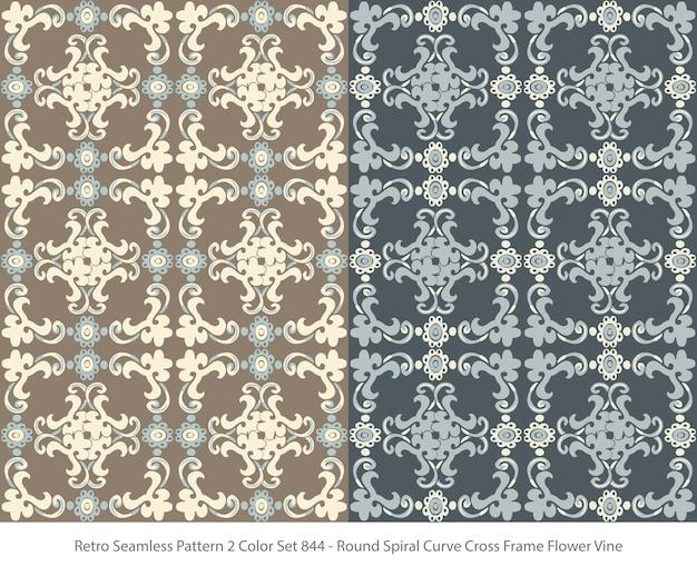 둥근 곡선 프레임 꽃 덩굴으로 완벽 한 패턴의 집합