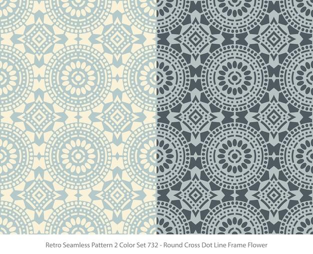 라운드 도트 프레임 꽃으로 완벽 한 패턴의 집합 프리미엄 벡터