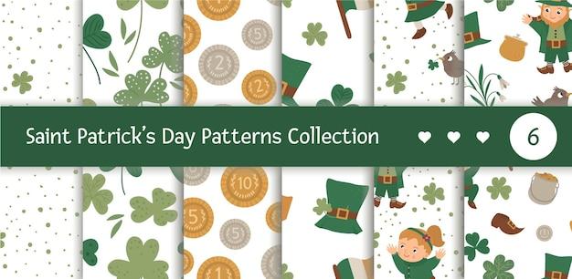 聖パトリックの日のシンボルとシームレスなパターンのセット。国民のアイルランドの休日の繰り返しの背景。かわいい面白いレプラコーン。