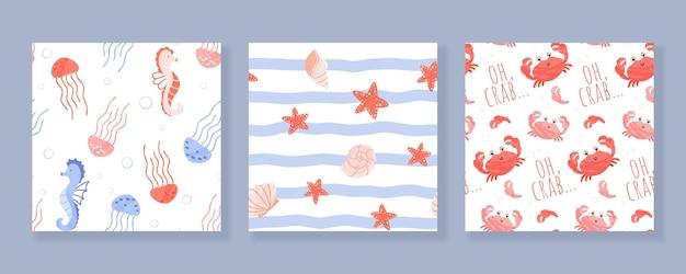 Набор бесшовных паттернов с морскими и океанскими животными и ракушками. иллюстрации шаржа.