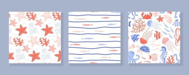 Набор бесшовных паттернов с морскими и океанскими животными, кораллами и ракушками. иллюстрации шаржа.