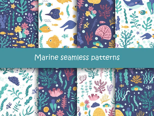 海藻と海の動物のシームレスパターンのセットです。