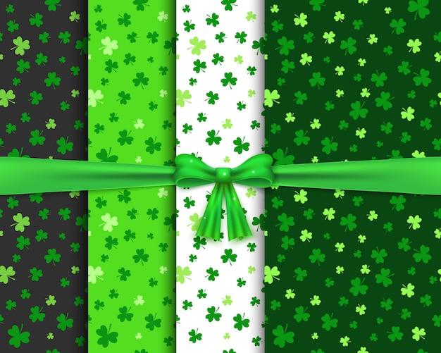 緑色のシャムロックとのシームレスなパターンのセット