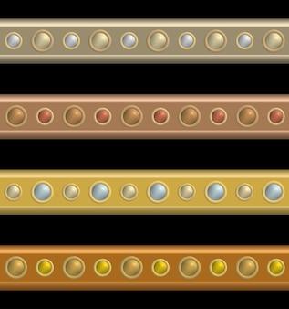 컬러 버튼 헤드 리벳으로 원활한 널빤지의 집합입니다.