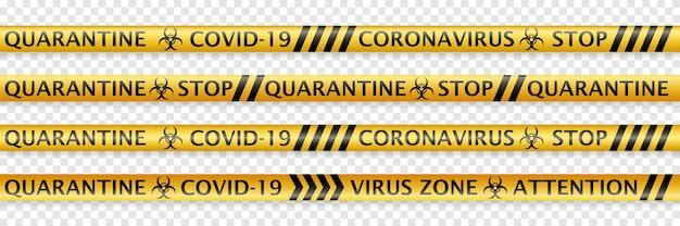 코로나바이러스 경고 라벨과 생물학적 위험 기호가 있는 매끄러운 안전 테이프 세트. 투명한 배경에 부드러운 그림자가 있는 검은색과 노란색
