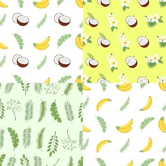 シームレスな夏のパターンのセット。ヤシの木、果物、花、ココナッツの葉の背景。ベクトル図。背景、繊維、包装紙、壁ポスターに簡単に使用できます。