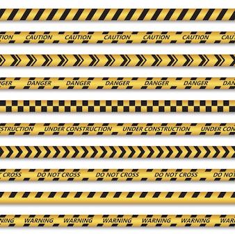 Набор бесшовных лент для опасных зон. векторная иллюстрация