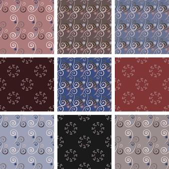 로맨틱 컬이 있는 매끄러운 빈티지 패턴 세트입니다. 인쇄, 섬유에 이상적