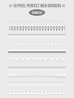 影付きのシームレスなウェブページの仕切りのセット。フレームと製本機と波状。ベクトルイラスト