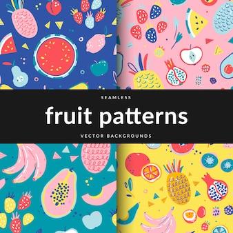 Набор бесшовных узоров с различными фруктами