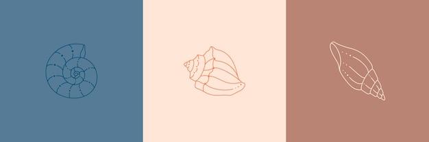 トレンディな最小限の線形スタイルの貝殻アイコンのセット。巻き貝、カタツムリ、ウェブサイトのホタテ、tシャツのプリント、タトゥー、ソーシャルメディアの投稿とストーリーのベクトルイラスト