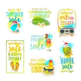 Набор дизайнов сезонной распродажи летние каникулы и каникулы иллюстрации