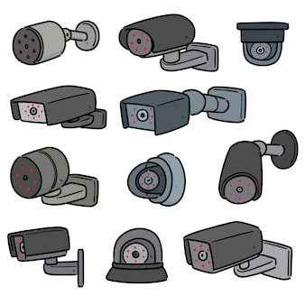 흰색 절연 보안 카메라 세트