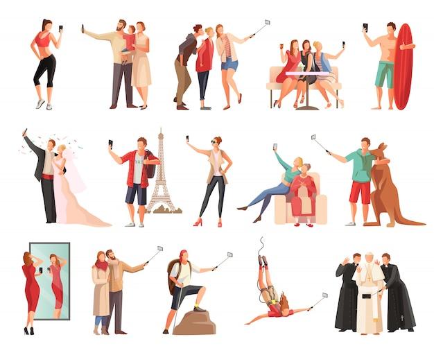 Набор селфи фото современных людей плоских персонажей, фотографирующих себя в разных ситуациях