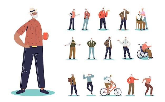Набор старшего мужского мультфильма, пьющего пиво, носит хипстерскую шляпу в различных жизненных ситуациях и позах: с женой, в инвалидной коляске, езда на велосипеде, танцы, разговор по мобильному телефону. плоские векторные иллюстрации