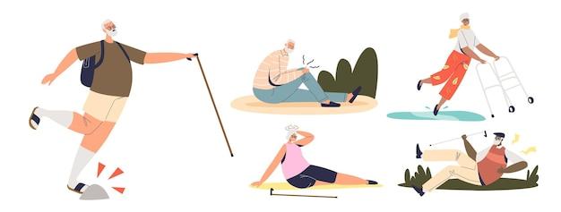 노인들은 걷거나 넘어지고 부상을 입고 허리 통증, 무릎, 현기증 피로로 고통받습니다. 노인 개념에 대한 부상 위험. 평면 벡터 일러스트 레이 션