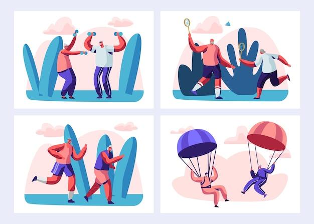 Набор пожилых людей спортивной деятельности и здорового образа жизни. набор иллюстраций