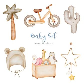 분리된 부품 세트와 아름다운 옷, 아기 용품 및 장난감을 수채화 스타일로 결합합니다.