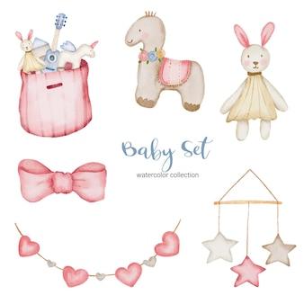 Набор отдельных частей и собирать вместе красивую одежду, детские предметы и игрушки в стиле акварели, акварельные иллюстрации