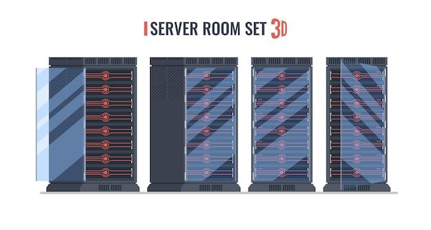 Набор серверной стойки, футуристическая серверная стойка
