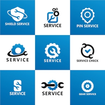 Набор шаблонов логотипа обслуживания и ремонта