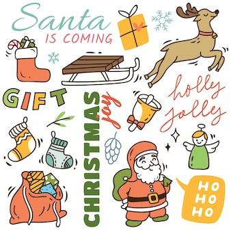 Set of Set of cute Christmas doodle backgroundcute Christmas doodle background
