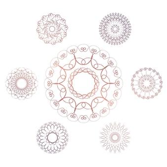 7つの幾何学的な円形要素のセット。白い背景の上のベクトルのモノグラム。ベクトルイラスト