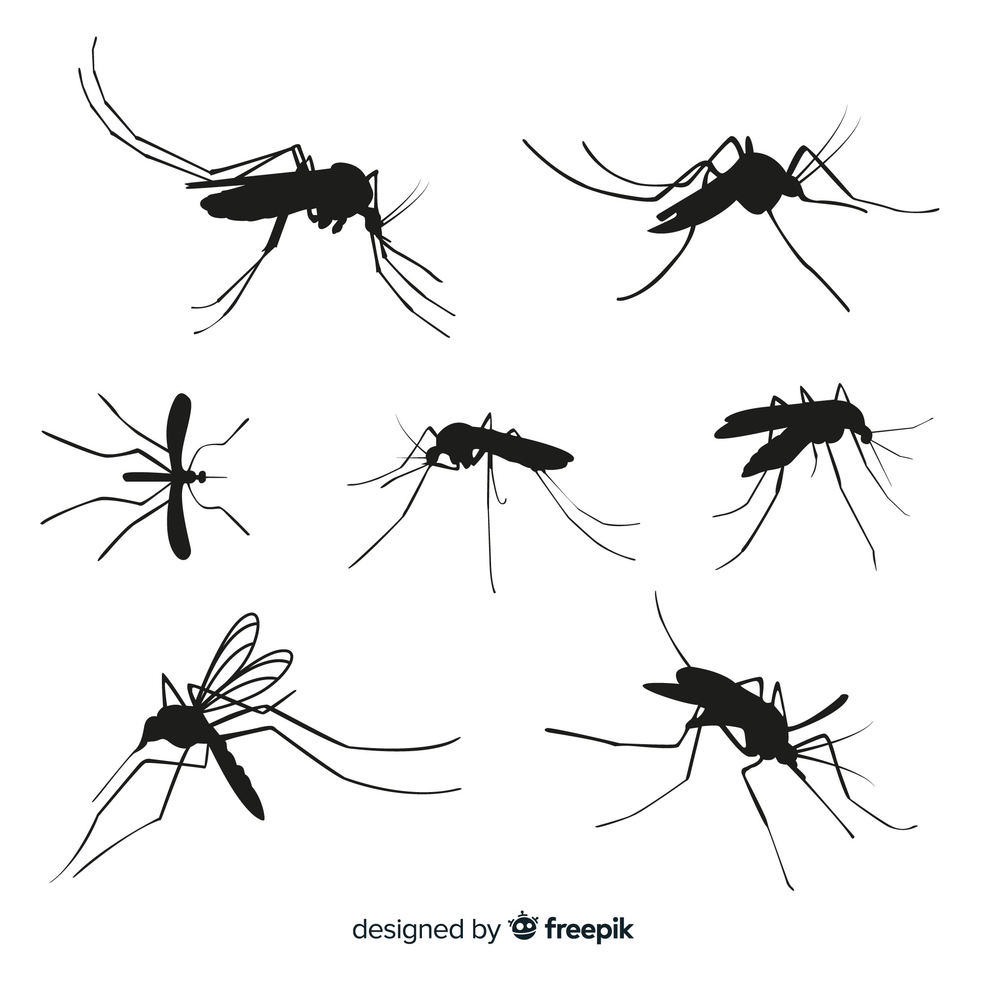 Set of seven mosquito silhouettes