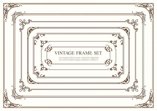 Набор из семи прямоугольных старинных рамок, изолированных на простом фоне. иллюстрация.