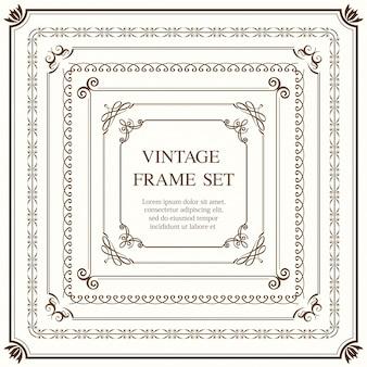 Набор из семи квадратных старинных рамок, изолированных на простом фоне. иллюстрация.